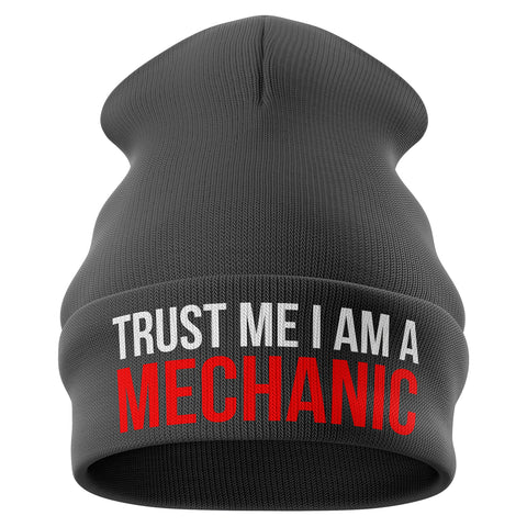 Trust Me Im a Mechanic Funny Beanie Hat - Purple Print House