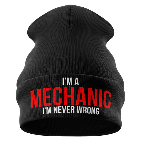 Im a Mechanic Im Never Wrong Beanie Hat - Purple Print House
