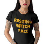 Resting Witch Face Halloween T Shirt - Purple Print House