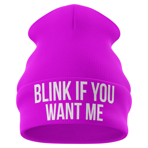 Blink If You Want Me Beanie Hat - Purple Print House