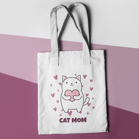 Cat Mom Funny Shopper Tote Bag - Purple Print House