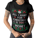 All i want for Christmas is a Money T Shirt - Purple Print House