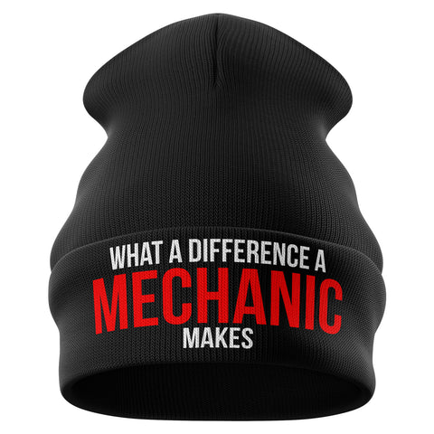 What a difference a Mechanic makes Funny Beanie Hat - Purple Print House