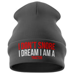 I Don't Snore Funny Farming Beanie Hat - Purple Print House