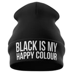 Black Is My Happy Colour Beanie Hat - Purple Print House