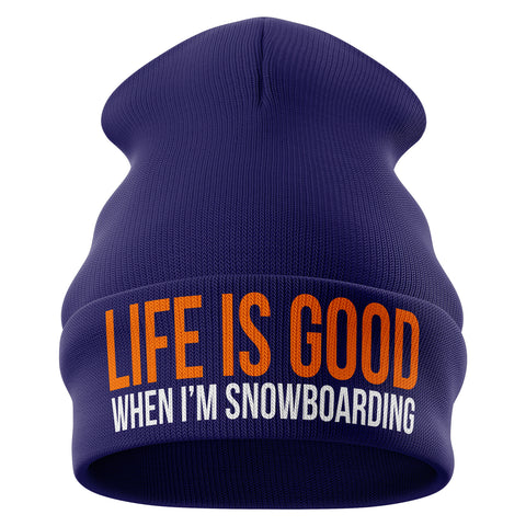 Life is good when im Snowboarding Beanie Hat - Purple Print House