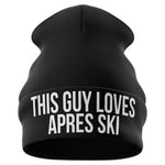 This Guy Loves Apres Ski Funny Beanie Hat - Purple Print House