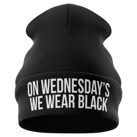 On Wednesdays We Wear Black Beanie Hat - Purple Print House