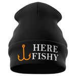Here Fishy Funny Beanie Hat - Purple Print House
