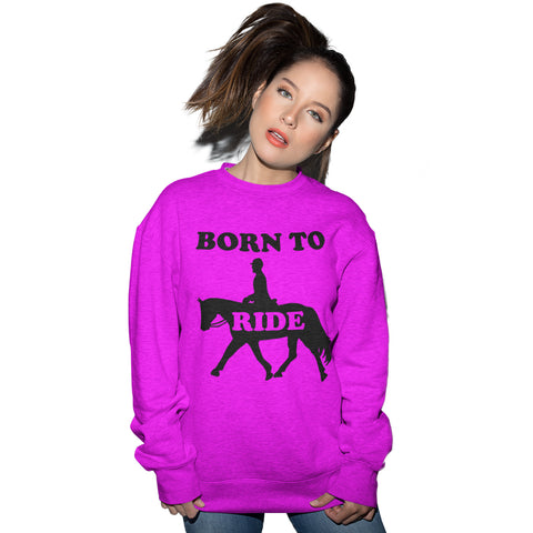 Born to Ride Horse Riding Sweatshirt - Purple Print House