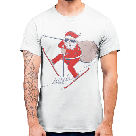 Santa Ski Christmas T Shirt - Purple Print House