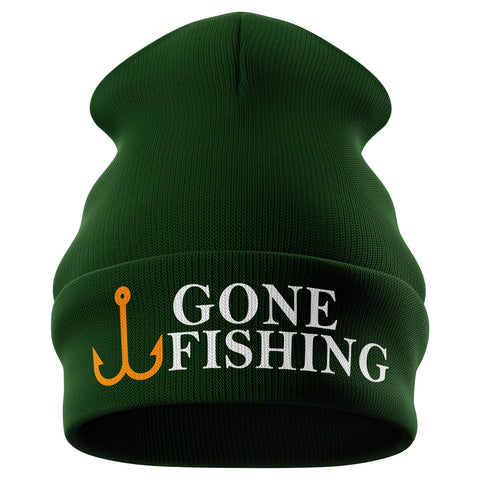 Gone Fishing Funny Beanie Hat - Purple Print House