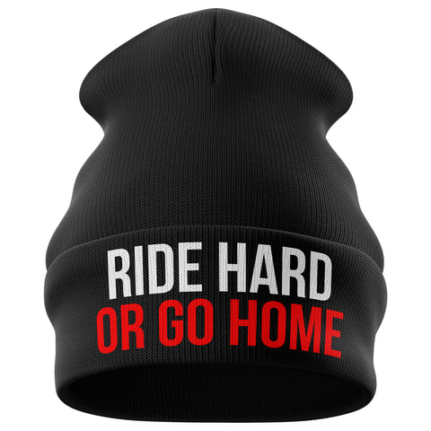 Ride Hard or Go Home Motorcycle Beanie Hat - Purple Print House