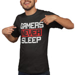 Gamers Never Sleep Gaming T Shirt - Purple Print House