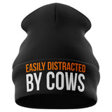 Easily Distracted by Cows Funny Beanie Hat - Purple Print House