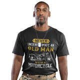 Never Underestimate an Old Man with a Motorcycle T Shirt - Purple Print House