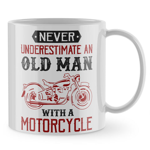 Never Underestimate Old Man Motorcycle Mug - Purple Print House