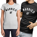 Married AF Funny Couples Wedding T Shirt - Purple Print House