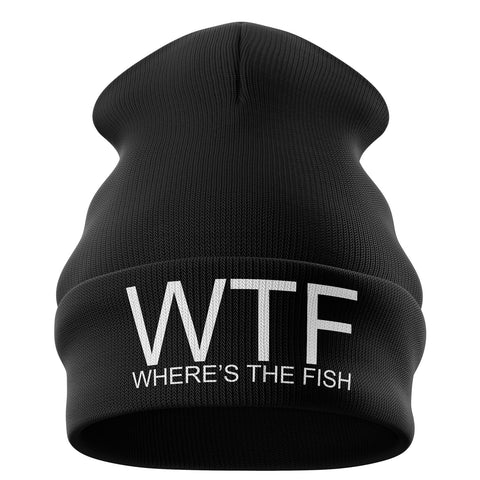 WTF Wheres The Fish Beanie Hat - Purple Print House