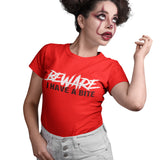 Beware I Have a Bite Zombie Halloween T Shirt - Purple Print House