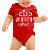 Hello World Personalised Cute Baby grow - Purple Print House