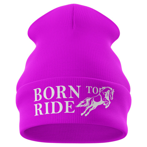 Born to Ride Horse Riding Beanie Hat - Purple Print House