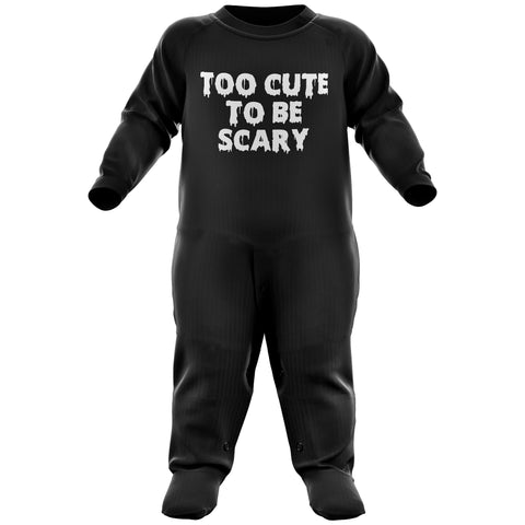 Too Cute to be Scary Funny Halloween Baby Romper Suit - Purple Print House