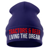 Tractors and Beer Farmer Beanie Hat - Purple Print House