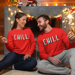 Chill Funny Red Sweatshirt - Purple Print House