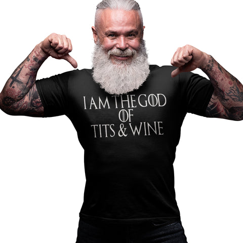 I am the God of Tits and Wine T Shirt - Purple Print House