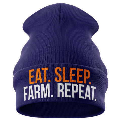 Eat Sleep Farm Repeat Beanie Hat - Purple Print House