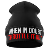 When in Doubt Throttle it out Motorcycle Beanie Hat - Purple Print House