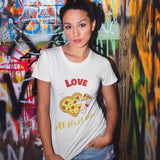 Love at First Bite Funny Pizza T Shirt - Purple Print House