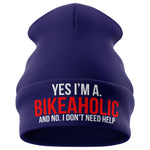 Im a Bikeaholic Dont Need Help Motorbike Beanie Hat - Purple Print House