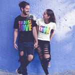 Choose Love Gay Pride T Shirt - Purple Print House