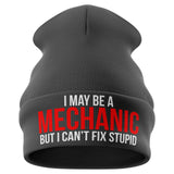 I May Be A Mechanic Funny Beanie Hat - Purple Print House