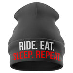 Ride Eat Sleep Repeat Motorbike Beanie Hat - Purple Print House