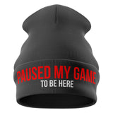 Paused my Game to be Here Gaming Beanie Hat - Purple Print House
