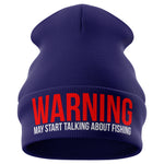 May Start Talking About Fishing Beanie Hat - Purple Print House