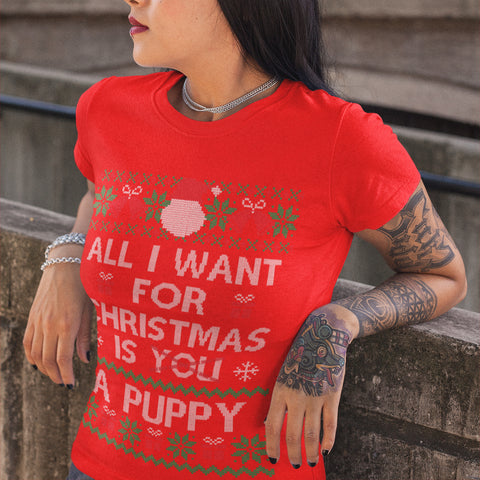 All i want for Christmas is a Puppy T Shirt - Purple Print House