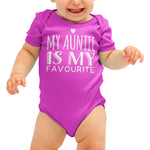 My Auntie is my favourite Funny Baby grow - Purple Print House
