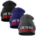 Live to Ride Motorcycle Beanie Hat - Purple Print House