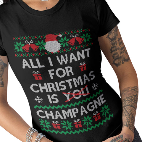 All i want for Christmas is a Champagne T Shirt - Purple Print House