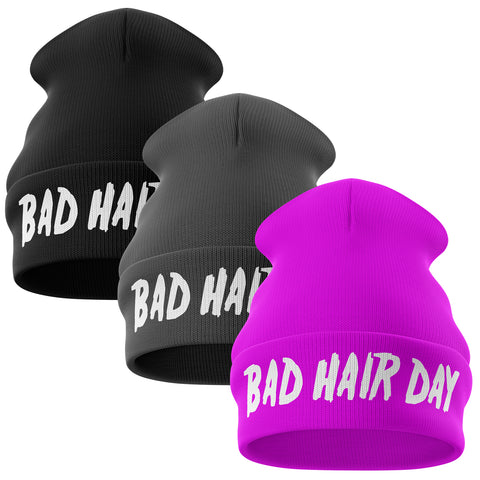 Bad Hair Day Funny Beanie Hat - Purple Print House