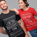 Naughty /  Nice Funny Couples Christmas T Shirt - Purple Print House