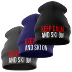 Keep Calm and Ski On Beanie Hat - Purple Print House