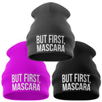 But First Mascara Funny Beanie Hat - Purple Print House