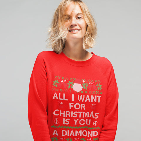 Image of All i want for Christmas is a Diamond Funny Sweatshirt - Purple Print House