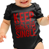 Keep Calm Im Single Funny Baby grow - Purple Print House