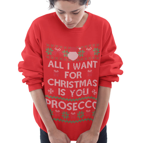 Image of All i want for Christmas is Prosecco Funny Sweatshirt - Purple Print House